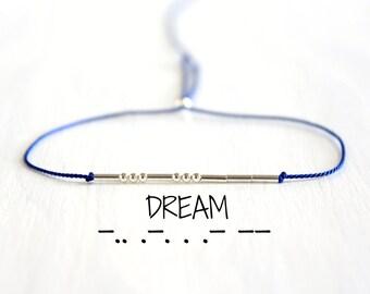 Minimalist Sterling Silver Beaded Morse Code Bracelet Dream Dainty Bohemian Chic Jewelry Silk Cord Friendship Bracelet