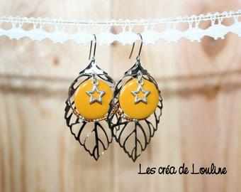 Mustard yellow leaf earrings