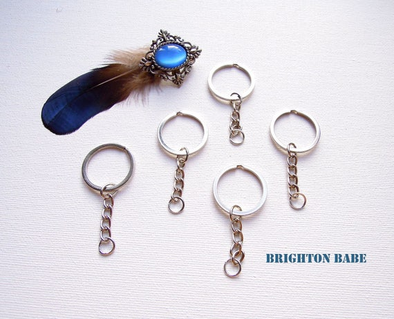 5 Chrome silver keyring with chain 28mm, Keychain blanks, Keyring DIY make your own keyrings