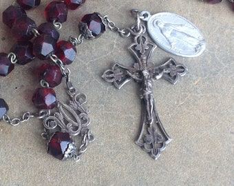 Antique Rosary, Catholic Rosary, Prayer Beads, Catholic Gifts, Catholic, Rosary Beads, Silver Rosary, Rosary, Christian Gifts