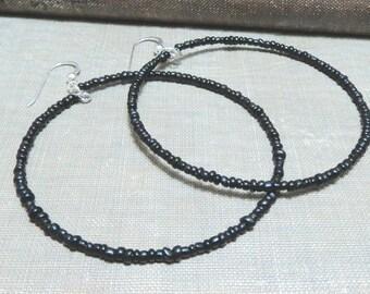 Beaded hoop earrings-black red or silver-seed beads-Large beaded hoops-beaded hoops-black hoops-black bead hoops-Seed bead hoops-black hoops