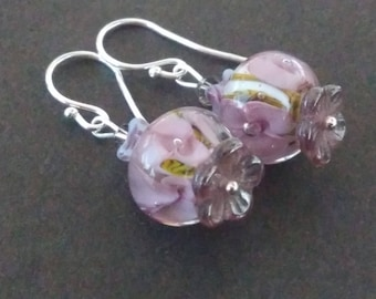 Small purple Lampwork Glass earrings