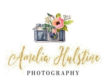 Premade Logo Design, Custom Logo, Photography Logo, Gold Glitter Logo, Custom Business Card Branding, Wedding Signs PL73