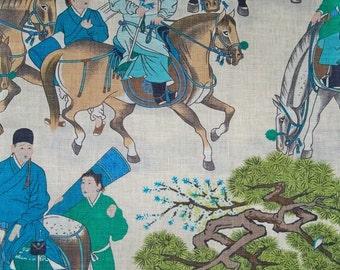 MANUEL CANOVAS CHINOISERIE Glazed Linen Toile Fabric 10 yards Turquoise Multi