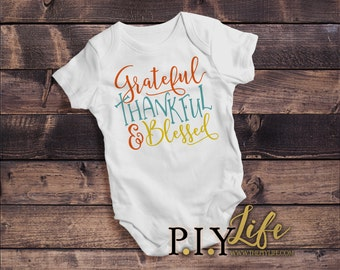 Kids    Grateful Thankful and Blessed Thanksgiving Fall Kids Bodysuit DTG Printing on Demand