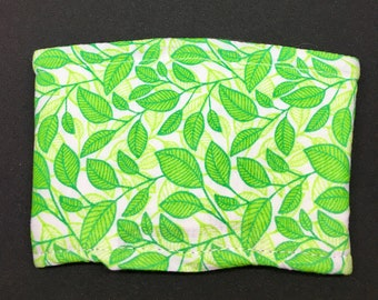 Reusable Fabric Coffee Sleeve / Reusable Coffee Cozy / Cup Sleeve / Eco Friendly Coffee Sleeve / Green Leaf Print