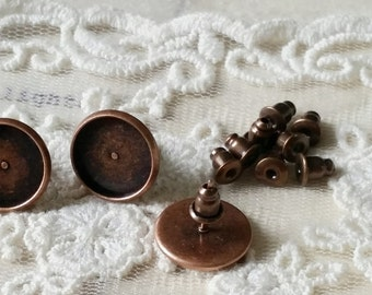 13 mm (fit for 12 mm glass buttons)Copper Earring Posts Electroplated With Earring Stoppers (.ta).