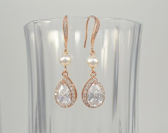 Rose Gold Bridal Cubic Zirconia Crystal Earrings, Swarovski Pearls, Ear Wires, Teardrops, Silver, Gold, Emily Earrings - Ships in 1-3 Days