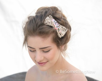 Vintage Ivory Lace Bow Hair Clip with Vintage Velvet Pansies, Woman Hair Accessories, Hair Bows, Lace Bow, Hair Clip, Lace Hair Bow, Wedding