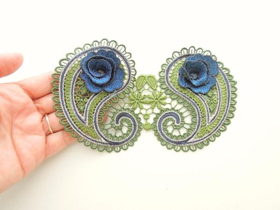 Large Guipure lace applique  Embroidered paisley lace sew-on patch  2D Flower sew on venise lace applique  Purple lace applique