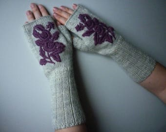 Ready to ship, Knit Fingerless gloves, Hand embroidery, Knitted Fingerless Mittens, Long Arm Warmers, Women Fingerless, Wrist Warmers Gift