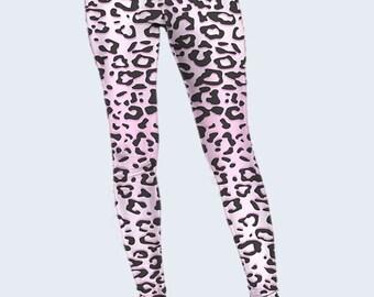 Pink Leopard Leggings, Spots Leggings, Womens Leggings, Best Leggings, Leggings for Women, Cool Leggings, Fashion Leggings, Colored Leggings