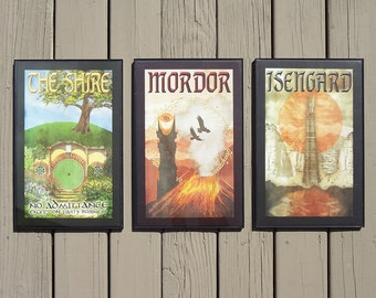 SET OF THREE Lord of the Rings Travel Posters
