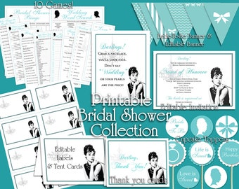 Breakfast at Tiffany's Bridal Shower Printable Set || Games, Labels, Advice Cards, Banners, Cupcake Toppers, Thank You & Custom Invitation