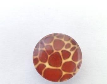 Glass skin animal print cabochon wild giraffe Brown 10mm