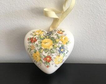 Vintage, Heart Shaped porcelain Pomander, Made In Japan,Ceramic Heart, Closet Atomizer, Drawer fragrance, Potpourri Holder, Ceramic Pomander