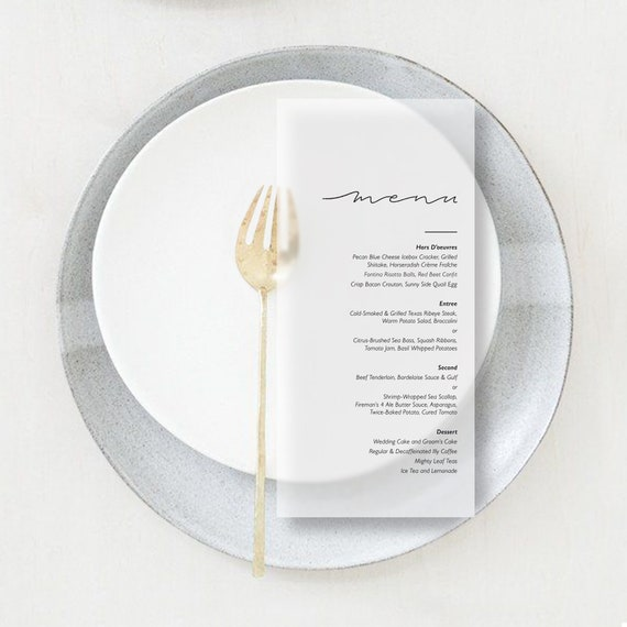 Translucent Vellum Minimal Menus, Slim Elegant Format For Weddings, Parties, Events by Etsy