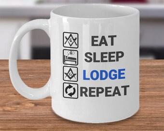 Freemason coffee mug - Eat Sleep Lodge Repeat - masonic symbol brotherhood gifts