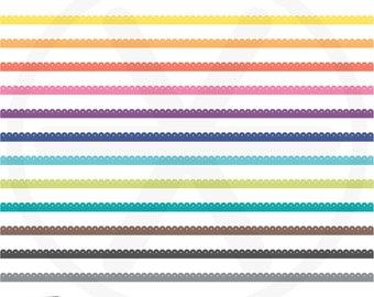 Borders Clipart. Colorful Digital Borders Clip Art. Rainbow Scallop Ribbon Images. Commercial Use. Instant Download. Digital Borders Set