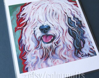 Old English SHEEPDOG Dog 8x10 Signed Art Print from Painting by Lynn Culp