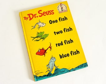 Vintage 1960s Childrens One Fish Two Fish Red Fish Blue Fish by Dr Seuss 1960 Book Club Edition Hc I Can Read It All By Myself Beginner Book