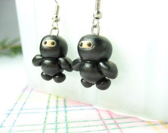 Black Ninja Earrings jewelry costume polymer clay funny baby charms character Japanese oriental dangle earrings cute kawaii unique gifts