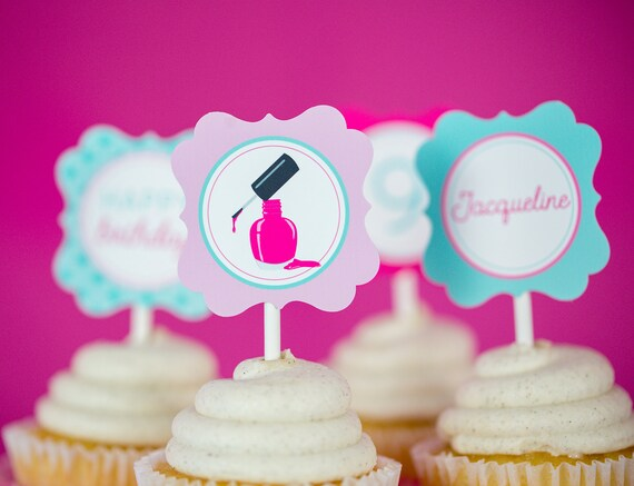 Spa Party Cupcake Topper Instant Download Spa Cupcakes