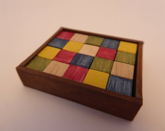 Handmade box containing 20 coloured bricks in 1/12th scale for miniature Nursery or Toy Shop