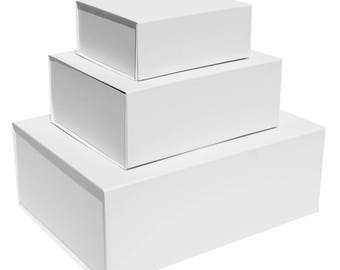 White Magnetic Gift Boxes available in 4 box sizes