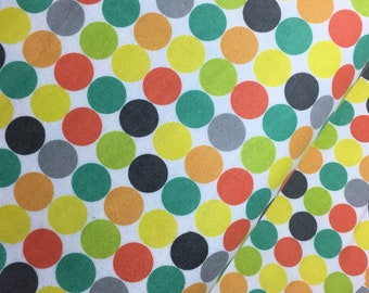 FLANNEL - Multi Dots on White from the 2017 Comfy Flannel Prints Collection by AE Nathan, Soft Color Flannel, Polka Dot