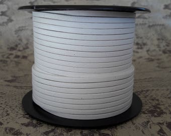 flat 3 mm white high quality European leather strap