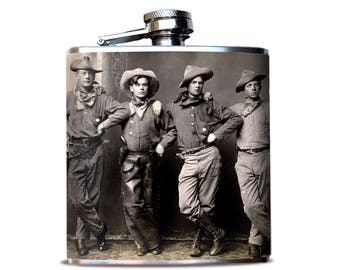Cowboy Flask | Bourbon Flask | Whiskey Flask | Cowboy Up | Rodeo Flask | Groomsmen gift | Best Man Flask