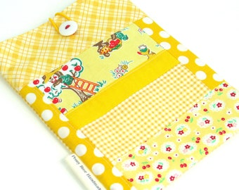 Yellow Patchwork Book Tote Bag Sleeve Handmade Fabric Book Tote with Closure Quilted Cover for Book Lover Gift for Her Kids Book Bag