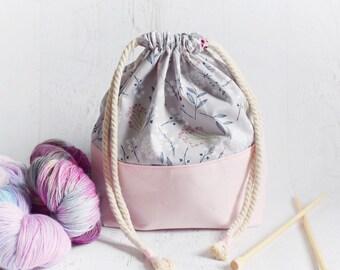 Floral Project Bag // Pink Project Bag // Project Bag for Knitting // Gray Project Bag // Knitting Bag // Drawstring Project Bag