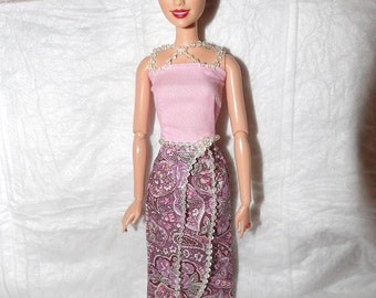 Pink floral paisley long skirt & pink top with pearl beading trim for Fashion Dolls - ed985