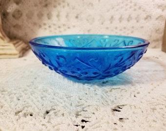 Small blue cut glass bowl