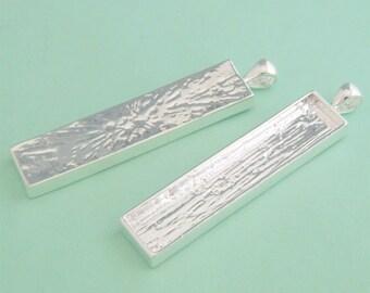 20pcs 12x53mm silvery white Pewter blank bezel rectangle Pendant Tray