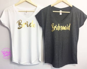 Bride Shirt, Maid of Honor, Matron of Honor, Bridesmaid Shirt, Bride Gift, Bridesmaid gift, Bachelorette Party Tee, Bachelorette Party Shirt