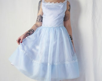 50s Sweet Emma Domb 1950s pastel blue chiffon prom frock with leaf appliqué