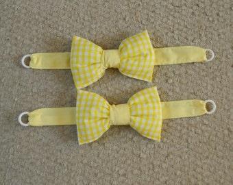 Lemon gingham bow tie backs, handmade