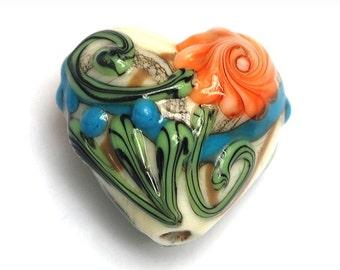 Turquoise w/Brown Heart Focal Bead - Handmade Lampwork Bead 11809205