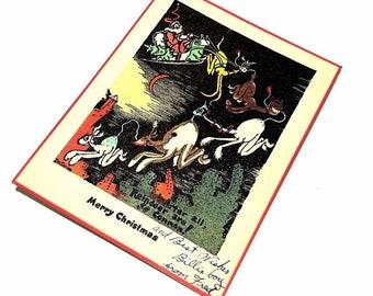 Vintage Original Dr Seuss Christmas Card 1930's -1940's era  Deco Period Style (MIDNIGHT)