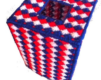 Patriotic Red, White and Blue Tissue Cover, USA tissue cozy, United States tissue cover