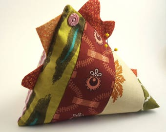 Pin cushion, chicken pin cushion, chicken paper weight, door stopper, chicken door stopper, patchwork chicken, patchwork pincushion