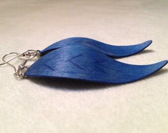 Blue Wood Earrings/ Large Dark Blue Leaf Wood Earrings
