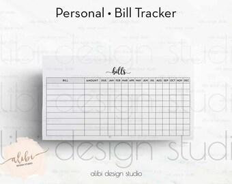 Bill Tracker, Personal Planner Inserts, Printable Planner, Bill Inserts, Finance Planner, Bill Calendar, Monthly Tracker, Bill Organizer