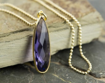 Drip necklace with purple quartz 925 silver gold plated
