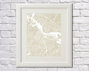 Amsterdam Street Map Print Map of Amsterdam City Street Map Netherlands Poster City Art Poster