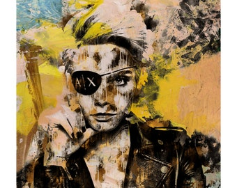 Bad girl! - Collage, face, portrait, watercolor, Cara Delevingne, fashion, woman, interior design, illustration, print, home decor, poster-