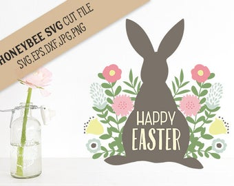 Happy Easter Bunny Flowers cut file svg eps dxf jpg png for Silhouette and Cricut type cutting machines